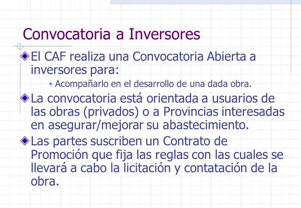 Convocatoria a Inversores El CAF realiza una Convocatoria Abierta a inversores para: Acompañarlo en el desarrollo de una dada obra.
