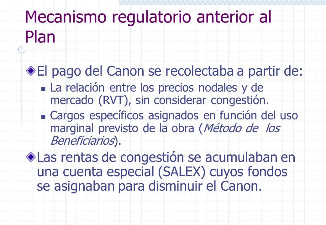 Mecanismo regulatorio anterior al Plan El pago del Canon se recolectaba a partir de: La relación entre los precios nodales y de mercado (RVT), sin considerar congestión.