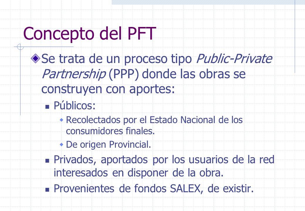 Concepto del PFT Se trata de un proceso tipo Public-Private Partnership (PPP) donde las obras se construyen con aportes: Públicos: Recolectados por el Estado Nacional de los consumidores finales.