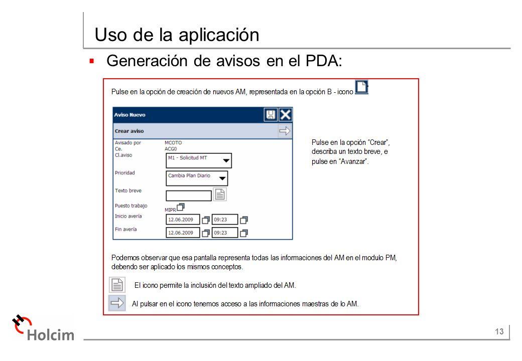 13 Uso de la aplicación Generación de avisos en el PDA: