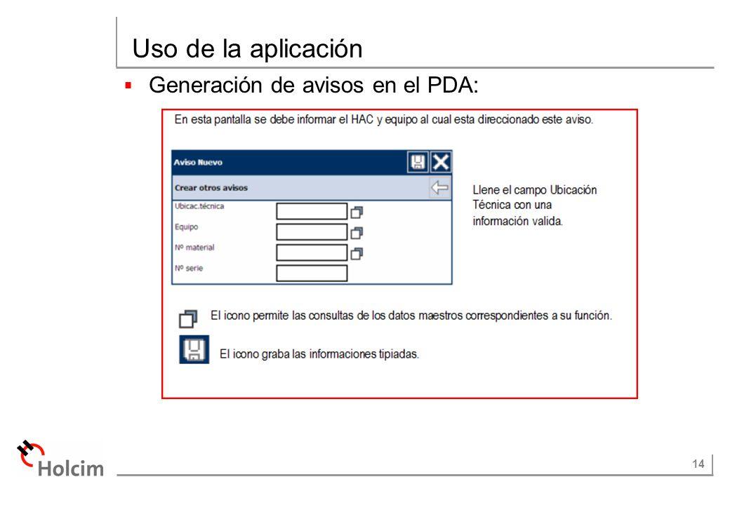 14 Uso de la aplicación Generación de avisos en el PDA: