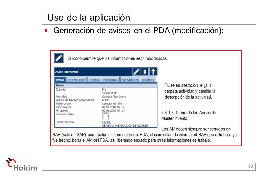 18 Uso de la aplicación Generación de avisos en el PDA (modificación):