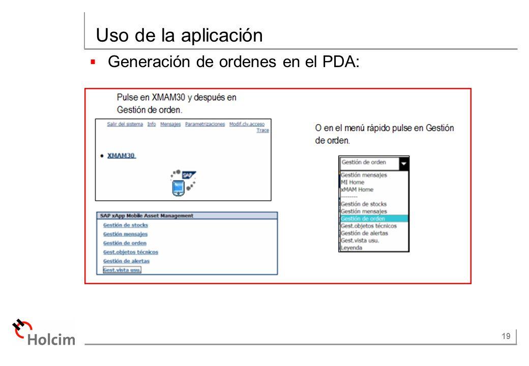 19 Uso de la aplicación Generación de ordenes en el PDA: