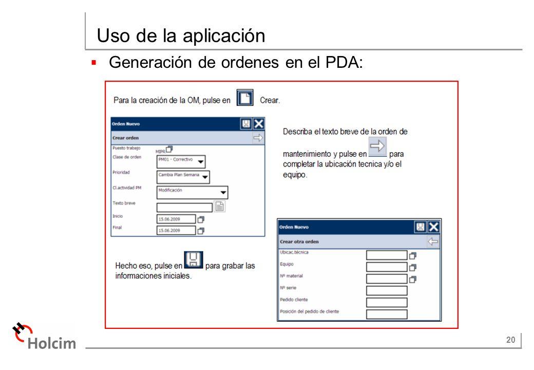 20 Uso de la aplicación Generación de ordenes en el PDA: