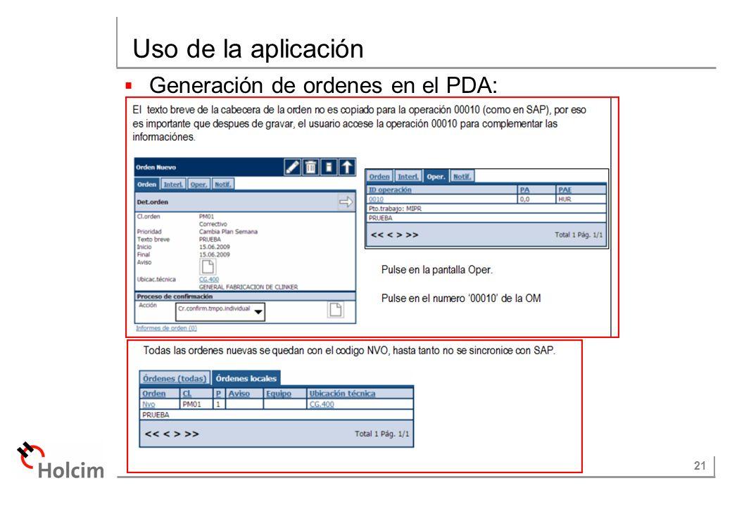 21 Uso de la aplicación Generación de ordenes en el PDA: