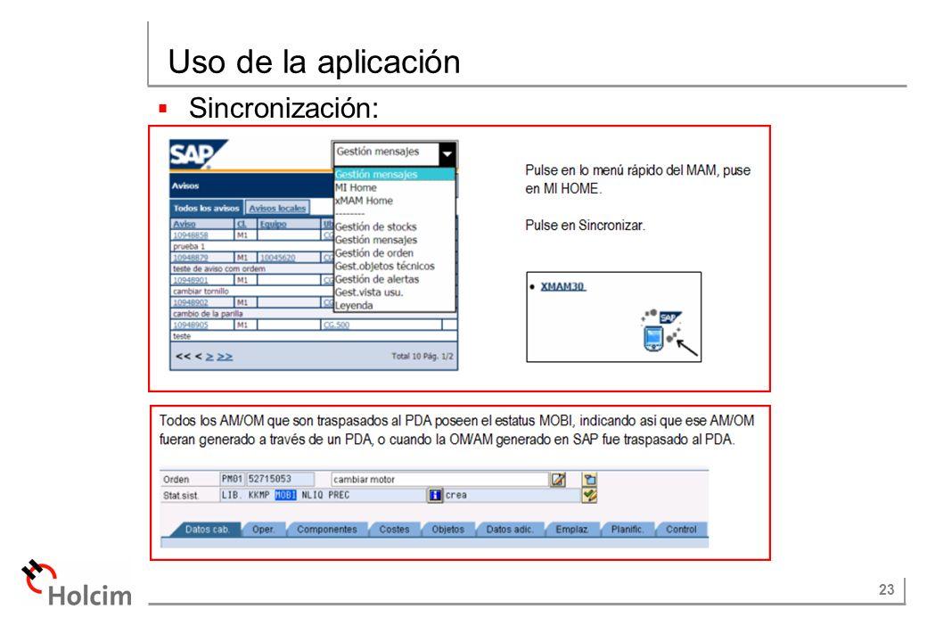 23 Uso de la aplicación Sincronización: