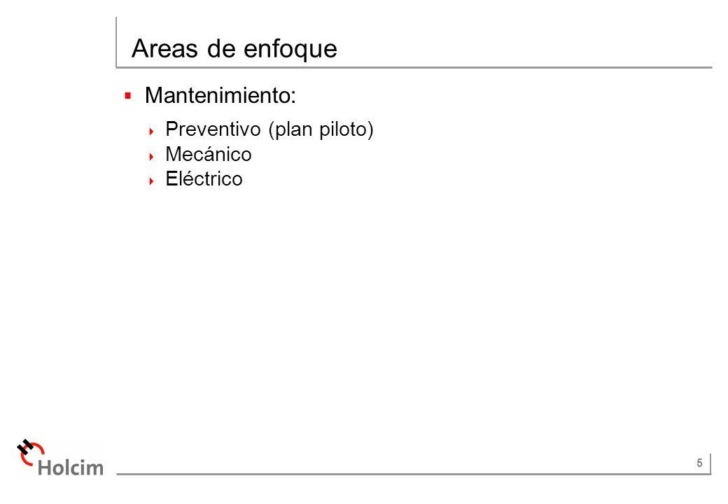 5 Areas de enfoque Mantenimiento: Preventivo (plan piloto) Mecánico Eléctrico