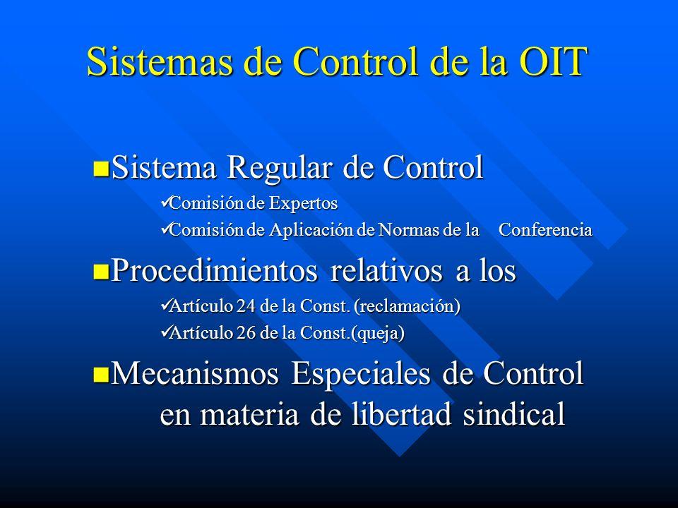 Sistemas de Control de la OIT Sistema Regular de Control Sistema Regular de Control Comisión de Expertos Comisión de Expertos Comisión de Aplicación de Normas de la Conferencia Comisión de Aplicación de Normas de la Conferencia Procedimientos relativos a los Procedimientos relativos a los Artículo 24 de la Const.