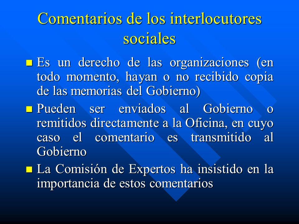 Comentarios de los interlocutores sociales Es un derecho de las organizaciones (en todo momento, hayan o no recibido copia de las memorias del Gobiern