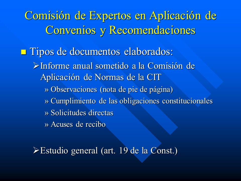 Comisión de Expertos en Aplicación de Convenios y Recomendaciones Tipos de documentos elaborados: Tipos de documentos elaborados: Informe anual someti