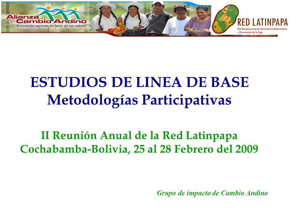 ESTUDIOS DE LINEA DE BASE Metodologías Participativas II Reunión Anual de la Red Latinpapa Cochabamba-Bolivia, 25 al 28 Febrero del 2009 Grupo de impacto de Cambio Andino
