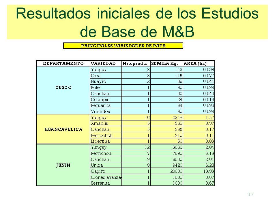 17 Resultados iniciales de los Estudios de Base de M&B