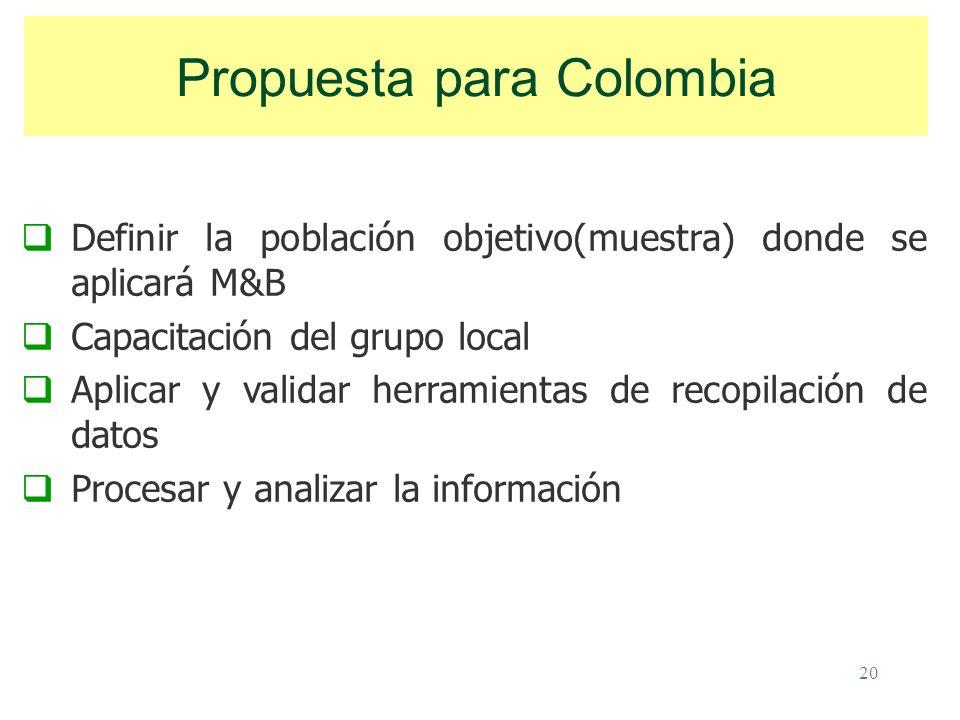 20 Definir la población objetivo(muestra) donde se aplicará M&B Capacitación del grupo local Aplicar y validar herramientas de recopilación de datos Procesar y analizar la información Propuesta para Colombia