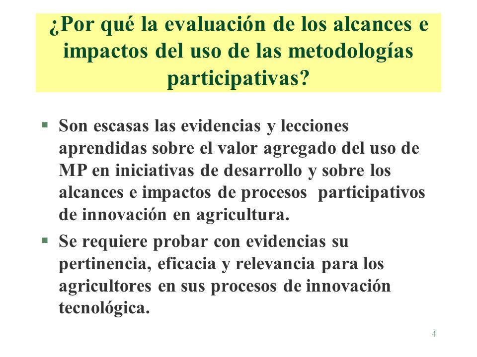 4 ¿Por qué la evaluación de los alcances e impactos del uso de las metodologías participativas.