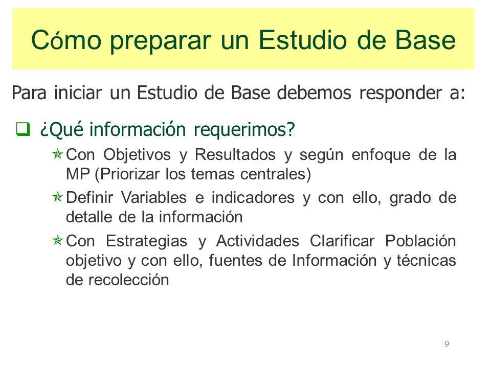 9 C ó mo preparar un Estudio de Base ¿Qué información requerimos.