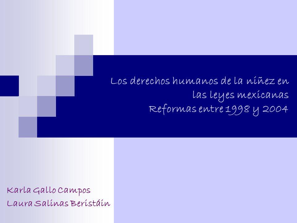 Los derechos humanos de la niñez en las leyes mexicanas Reformas entre 1998 y 2004 Karla Gallo Campos y Laura Salinas Beristáin EstadosCódigos/leyesCiviles/familiaresProcedimientos civilesPenalesProcedimientos penalesViolencia intrafamiliar AGUASCALIENTESSí NoSiNo hay BAJA CALIFORNIASí Se emitió BAJA CALIFORNIA SURNoSíNoSíNo hay CAMPECHESíNoSíNoNo hay COAHUILASíNoSí Se emitió COLIMASí Se emitió CHIAPASSíNoSí Se modificó CHIHUAHUASí No hay DISTRITO FEDERALSí Se modificó DURANGOSíNoSí Se emitió GUANAJUATOSíNoSíNoSe emitió GUERREROSíNoSíNoSe emitió HIDALGOSíNoSíNoNo hay JALISCOSíNoSíNoNo hay MÉXICONo SíNoNo hay MICHOACÁNNo Sí Se emitió