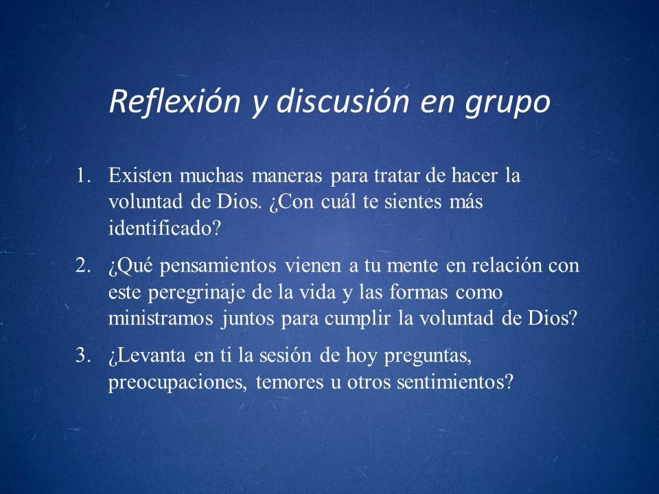 Reflexión y discusión en grupo 1.Existen muchas maneras para tratar de hacer la voluntad de Dios. ¿Con cuál te sientes más identificado? 2.¿Qué pensam