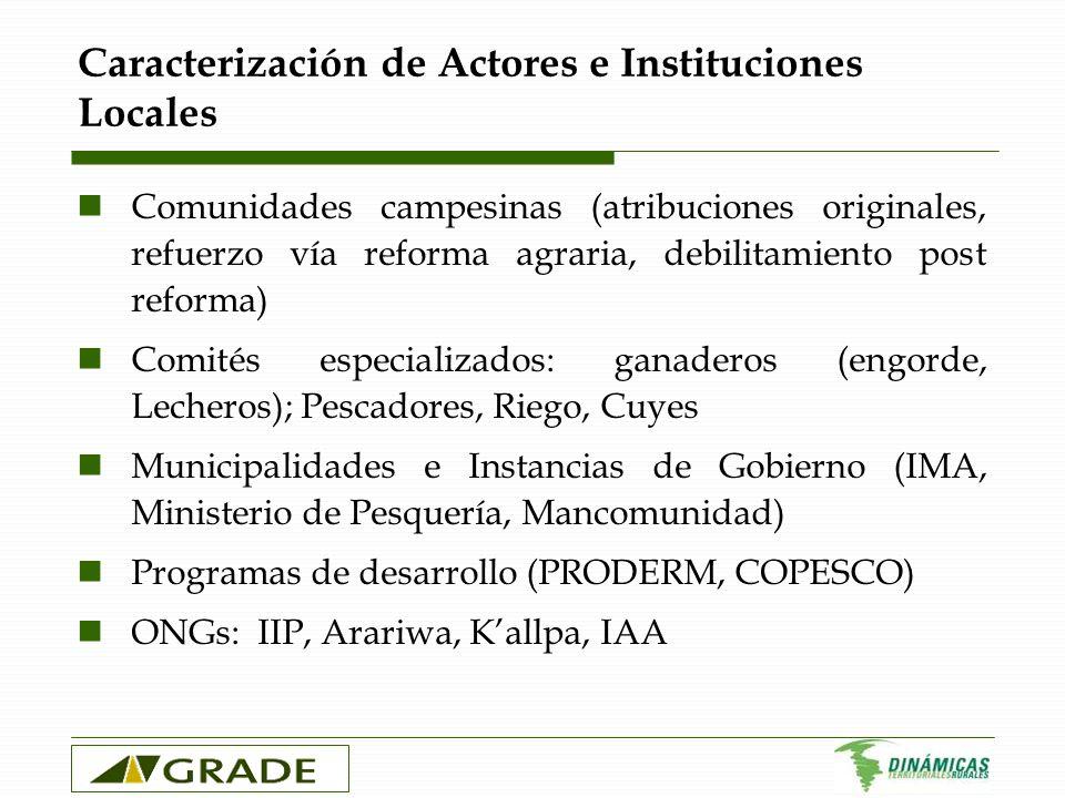 Caracterización de Actores e Instituciones Locales Comunidades campesinas (atribuciones originales, refuerzo vía reforma agraria, debilitamiento post