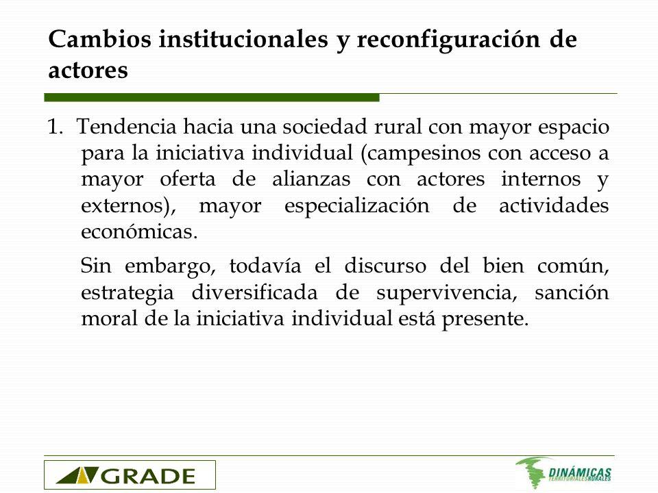 Cambios institucionales y reconfiguración de actores 1. Tendencia hacia una sociedad rural con mayor espacio para la iniciativa individual (campesinos