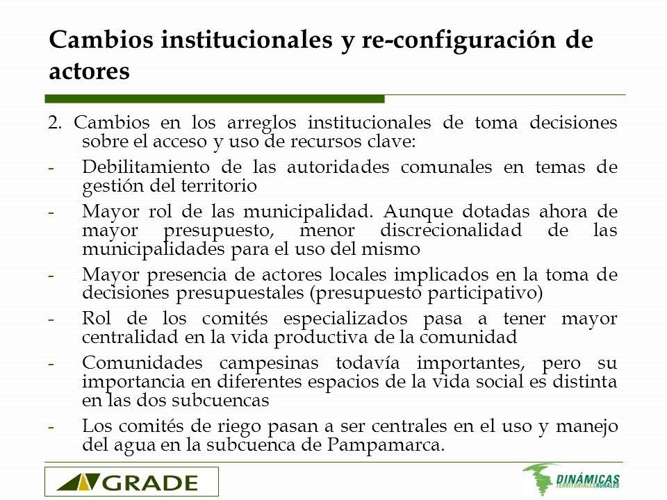 Cambios institucionales y re-configuración de actores 2. Cambios en los arreglos institucionales de toma decisiones sobre el acceso y uso de recursos