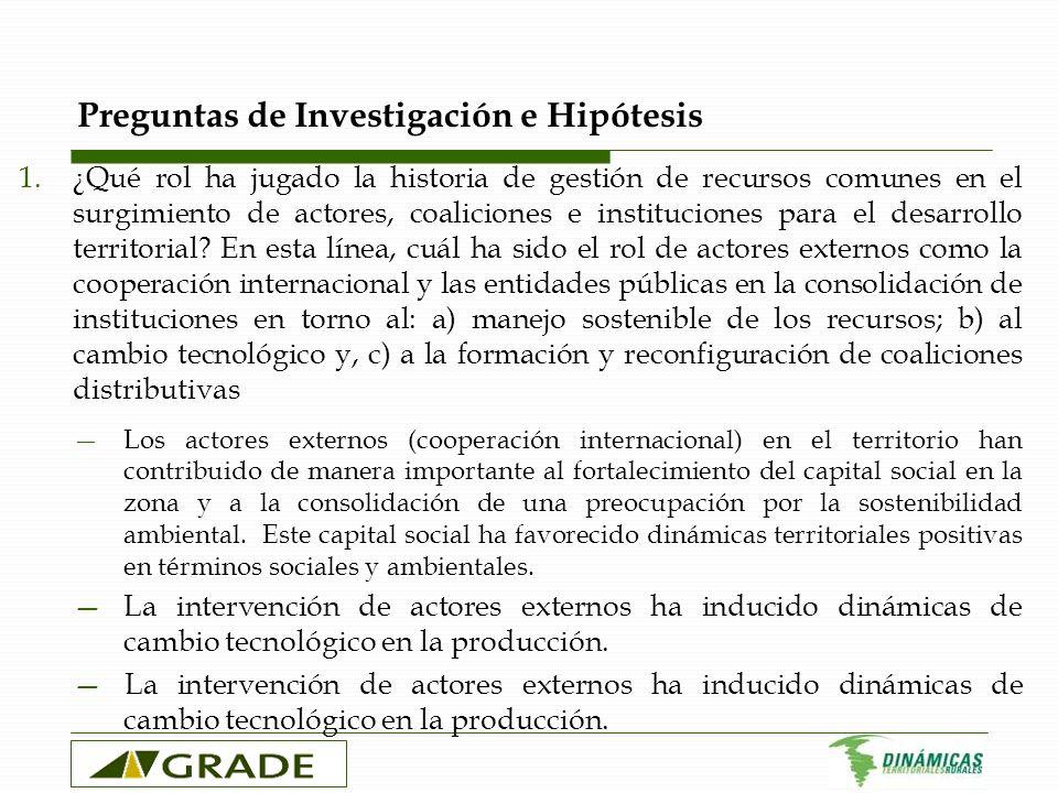 Preguntas de Investigación e Hipótesis 1.¿Qué rol ha jugado la historia de gestión de recursos comunes en el surgimiento de actores, coaliciones e ins
