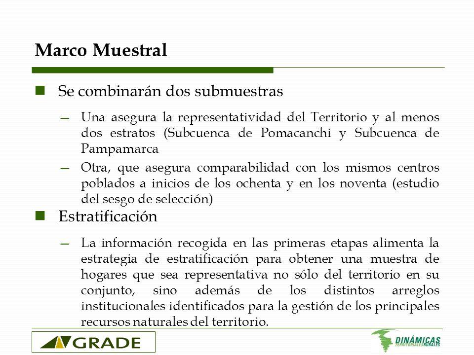 Marco Muestral Se combinarán dos submuestras Una asegura la representatividad del Territorio y al menos dos estratos (Subcuenca de Pomacanchi y Subcue