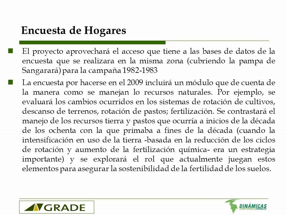 Encuesta de Hogares El proyecto aprovechará el acceso que tiene a las bases de datos de la encuesta que se realizara en la misma zona (cubriendo la pa