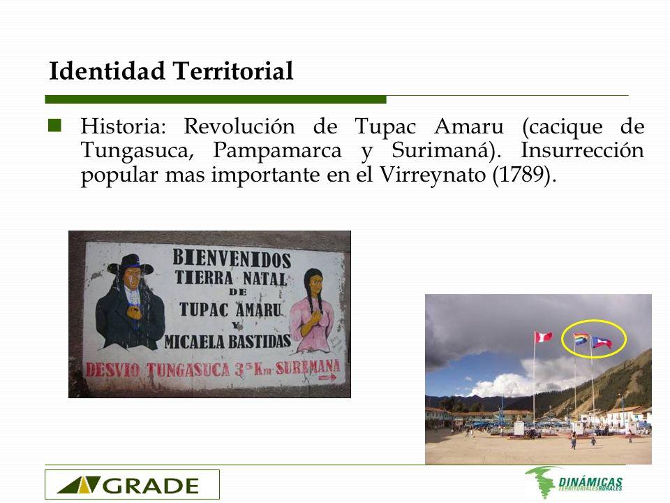 Identidad Territorial Historia: Revolución de Tupac Amaru (cacique de Tungasuca, Pampamarca y Surimaná). Insurrección popular mas importante en el Vir