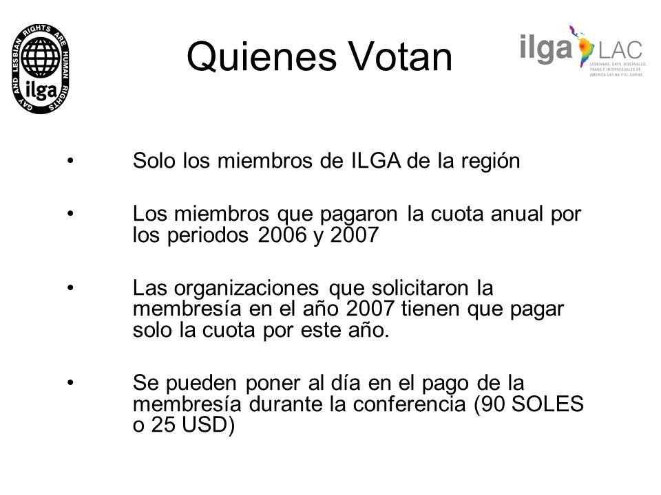 Quienes Votan Solo los miembros de ILGA de la región Los miembros que pagaron la cuota anual por los periodos 2006 y 2007 Las organizaciones que solic