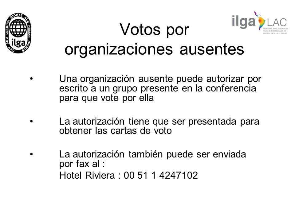 Votos por organizaciones ausentes Una organización ausente puede autorizar por escrito a un grupo presente en la conferencia para que vote por ella La
