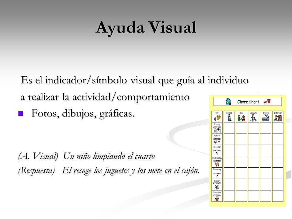 Ayuda Visual Es el indicador/símbolo visual que guía al individuo Es el indicador/símbolo visual que guía al individuo a realizar la actividad/comport