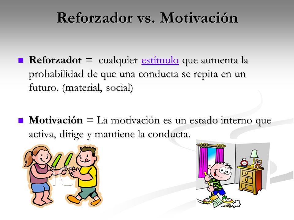 Reforzador vs. Motivación Reforzador = cualquier estímulo que aumenta la probabilidad de que una conducta se repita en un futuro. (material, social) R