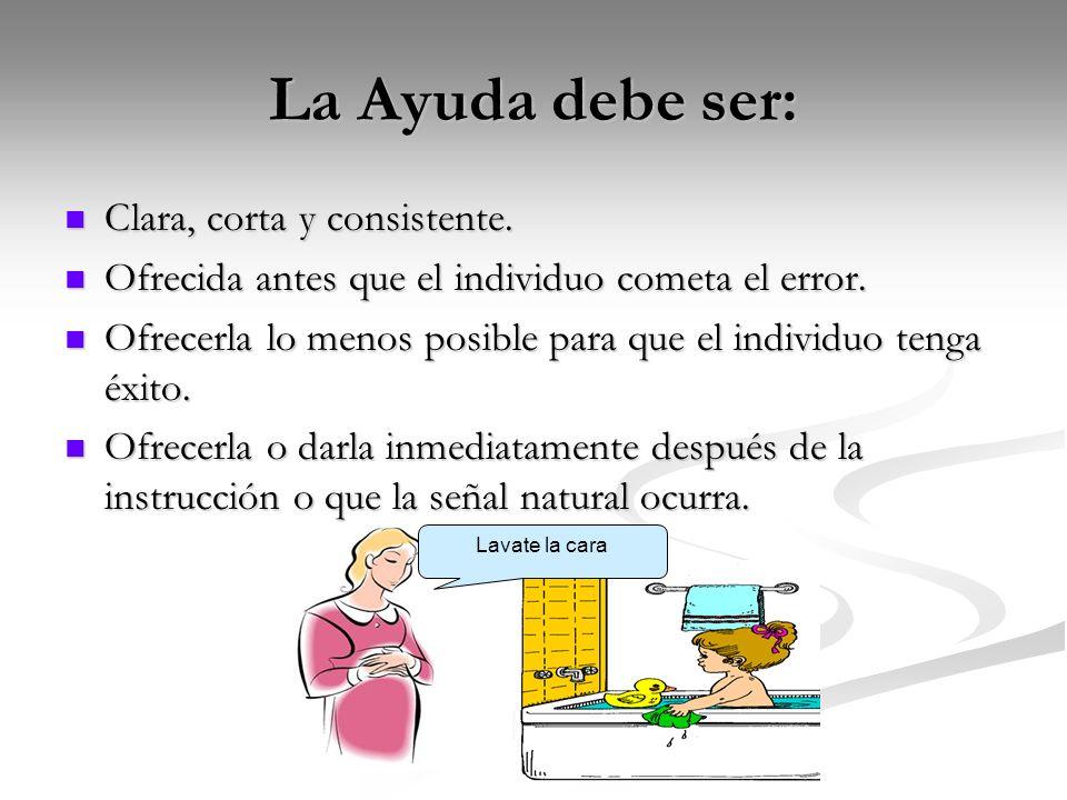 La Ayuda debe ser: Clara, corta y consistente. Clara, corta y consistente. Ofrecida antes que el individuo cometa el error. Ofrecida antes que el indi