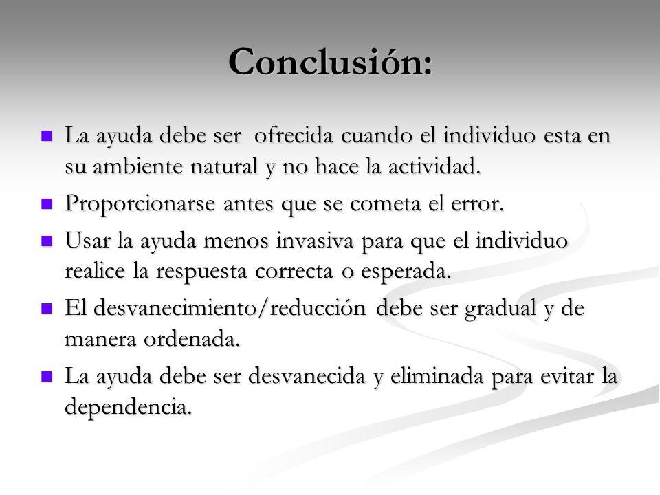 Conclusión: La ayuda debe ser ofrecida cuando el individuo esta en su ambiente natural y no hace la actividad. La ayuda debe ser ofrecida cuando el in