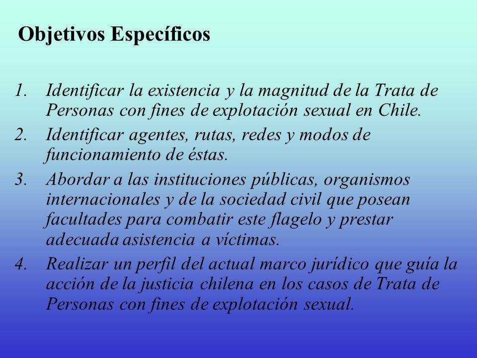 Objetivos Específicos 1.Identificar la existencia y la magnitud de la Trata de Personas con fines de explotación sexual en Chile. 2.Identificar agente