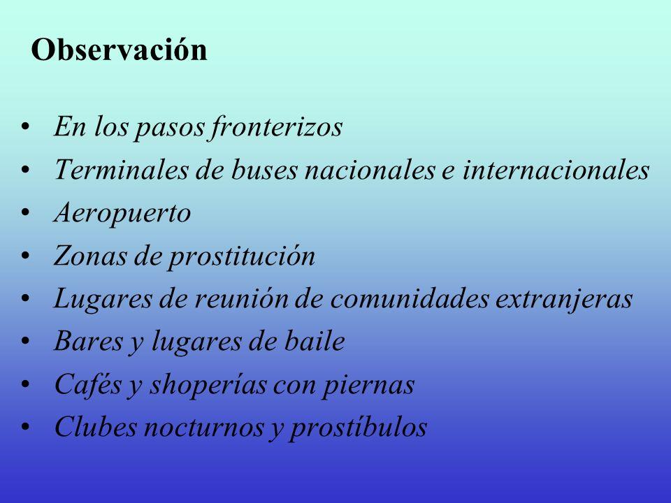 Observación En los pasos fronterizos Terminales de buses nacionales e internacionales Aeropuerto Zonas de prostitución Lugares de reunión de comunidad