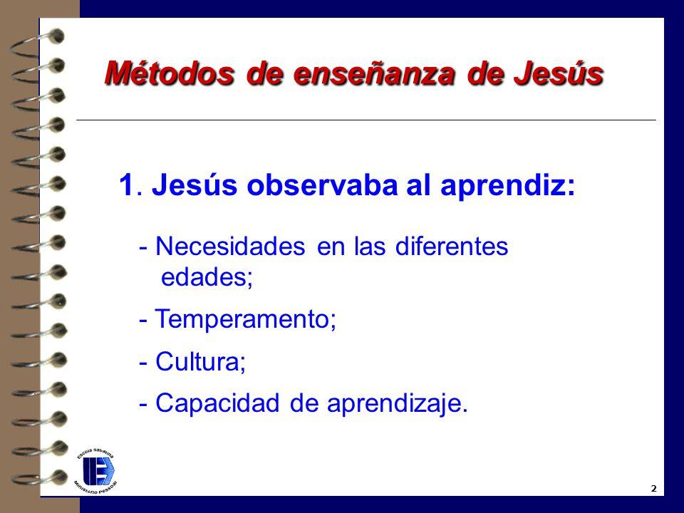 Métodos de enseñanza de Jesús Métodos de enseñanza de Jesús ¡Qué bendición sería, si todos enseñaran como Jesús enseñó! Consejos sobre la Escuela Sabá
