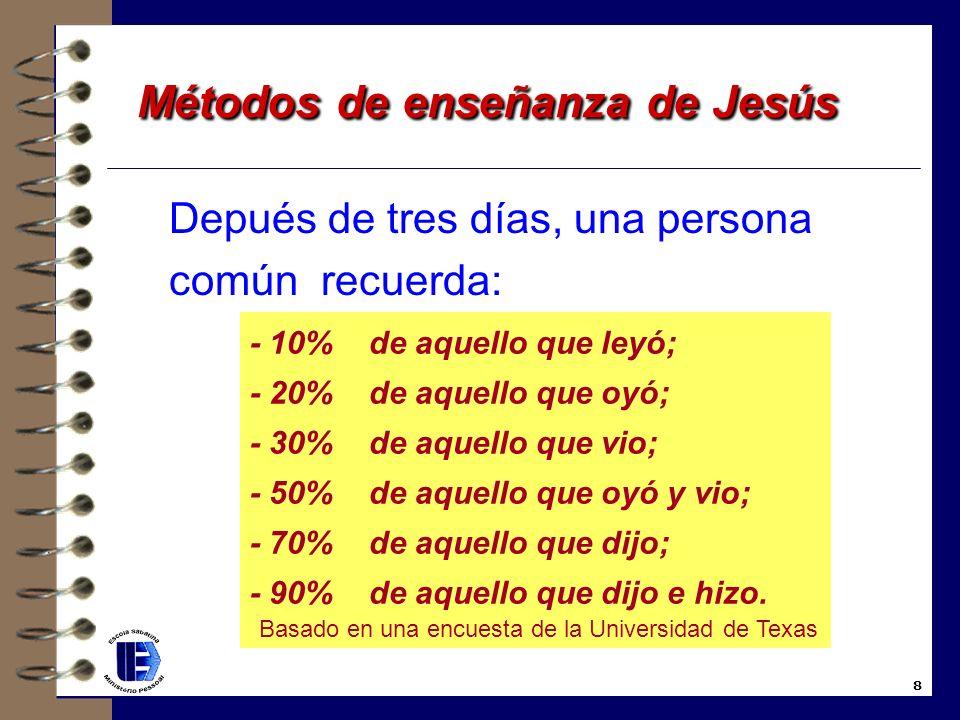 8. Jesús usaba actividades de aprendizaje 4 Llenad las tinajas con agua; 4 Lanzad vuestras redes al mar; 4 El bautismo por inmersión 4 El lavamiento d