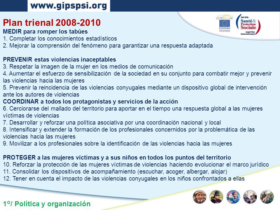 1°/ Política y organización Plan trienal 2008-2010 MEDIR para romper los tabúes 1. Completar los conocimientos estadísticos 2. Mejorar la comprensión