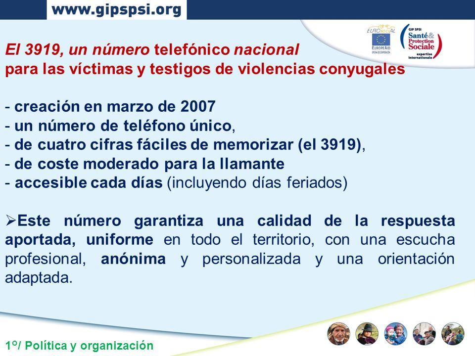 1°/ Política y organización El 3919, un número telefónico nacional para las víctimas y testigos de violencias conyugales - creación en marzo de 2007 -
