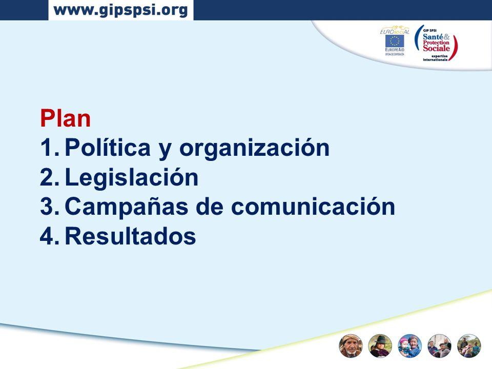 Plan 1.Política y organización 2.Legislación 3.Campañas de comunicación 4.Resultados
