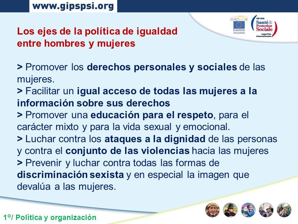 Los ejes de la política de igualdad entre hombres y mujeres > Promover los derechos personales y sociales de las mujeres. > Facilitar un igual acceso