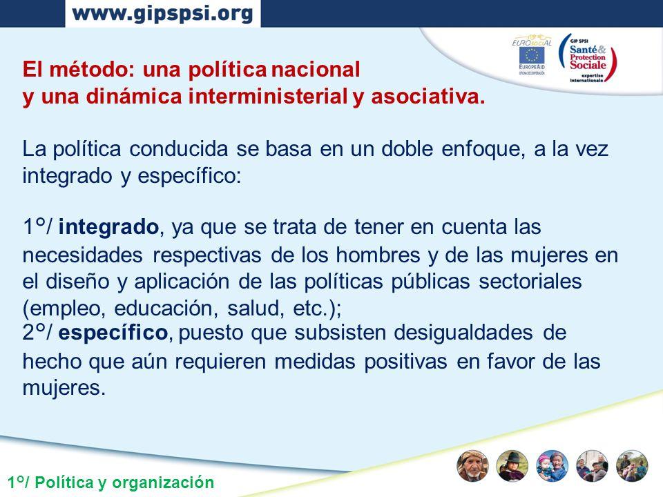 1°/ Política y organización El método: una política nacional y una dinámica interministerial y asociativa. La política conducida se basa en un doble e