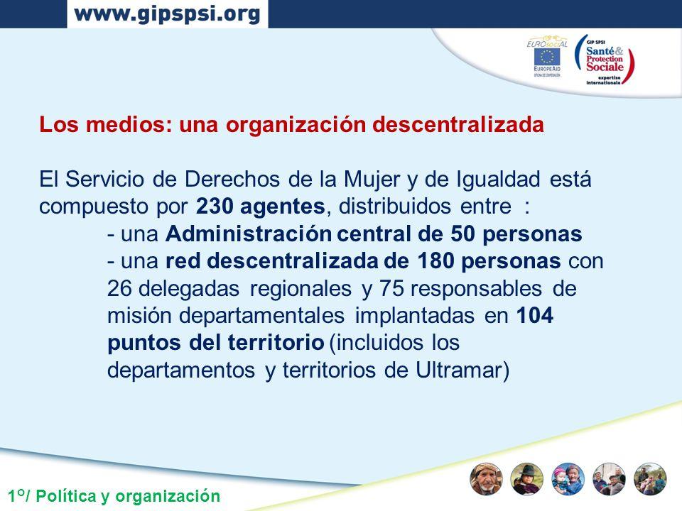 1°/ Política y organización Los medios: una organización descentralizada El Servicio de Derechos de la Mujer y de Igualdad está compuesto por 230 agen