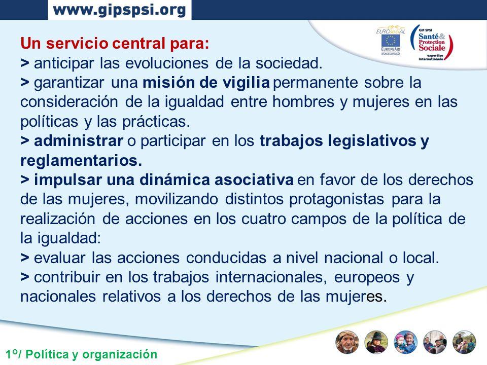 1°/ Política y organización Un servicio central para: > anticipar las evoluciones de la sociedad. > garantizar una misión de vigilia permanente sobre