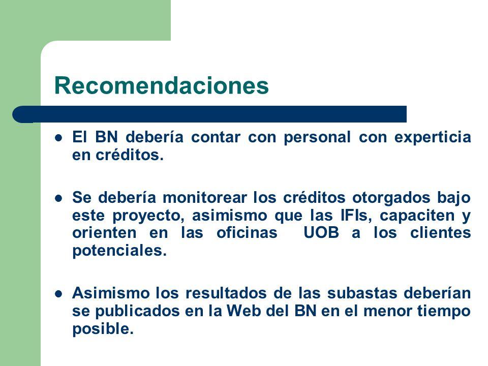 Recomendaciones El BN debería contar con personal con experticia en créditos. Se debería monitorear los créditos otorgados bajo este proyecto, asimism