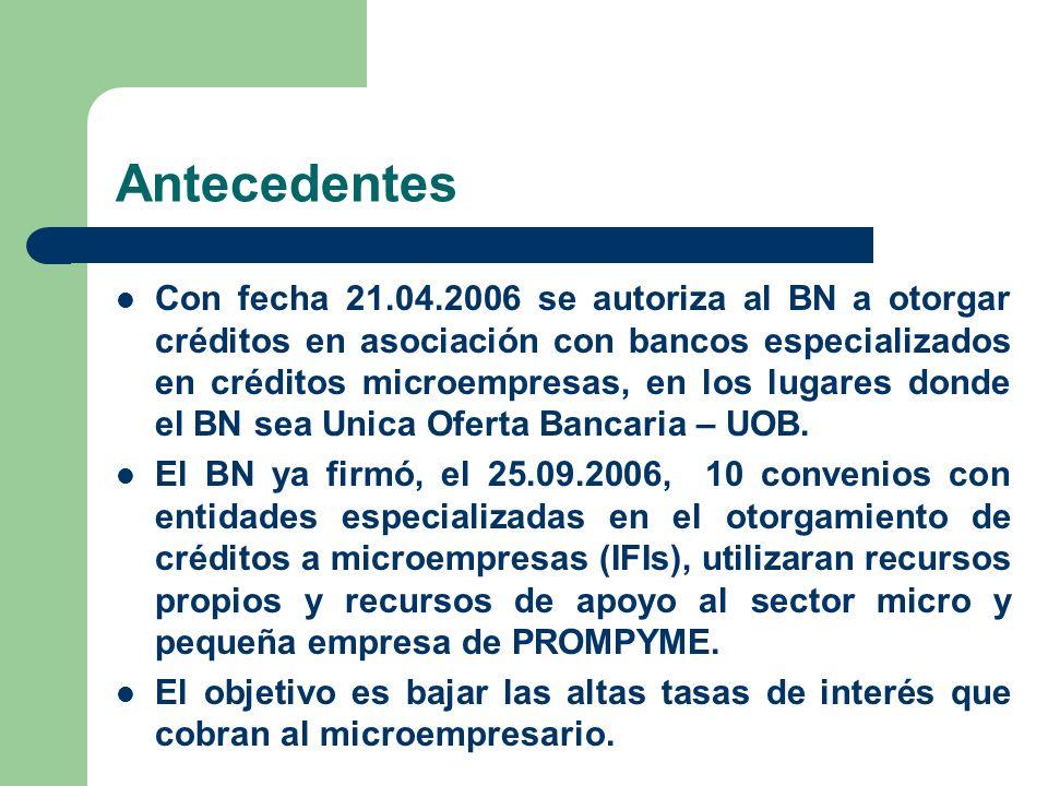 Antecedentes Con fecha 21.04.2006 se autoriza al BN a otorgar créditos en asociación con bancos especializados en créditos microempresas, en los lugar