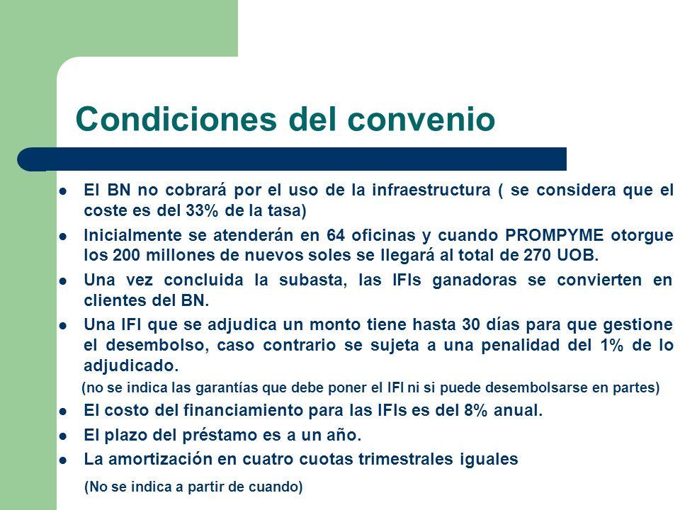 Condiciones del convenio El BN no cobrará por el uso de la infraestructura ( se considera que el coste es del 33% de la tasa) Inicialmente se atenderá