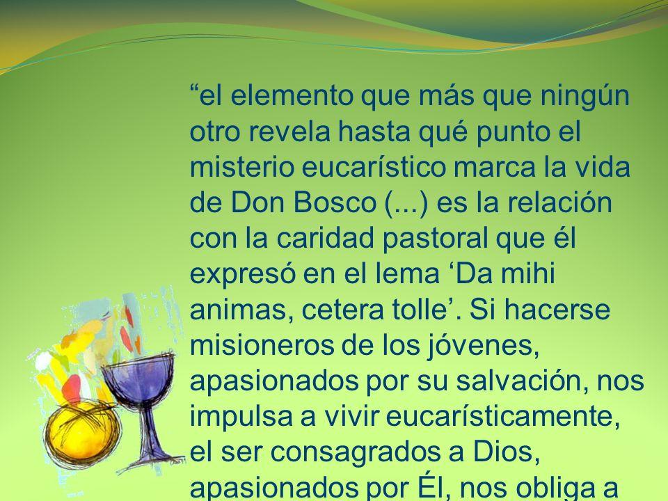el elemento que más que ningún otro revela hasta qué punto el misterio eucarístico marca la vida de Don Bosco (...) es la relación con la caridad pastoral que él expresó en el lema Da mihi animas, cetera tolle.