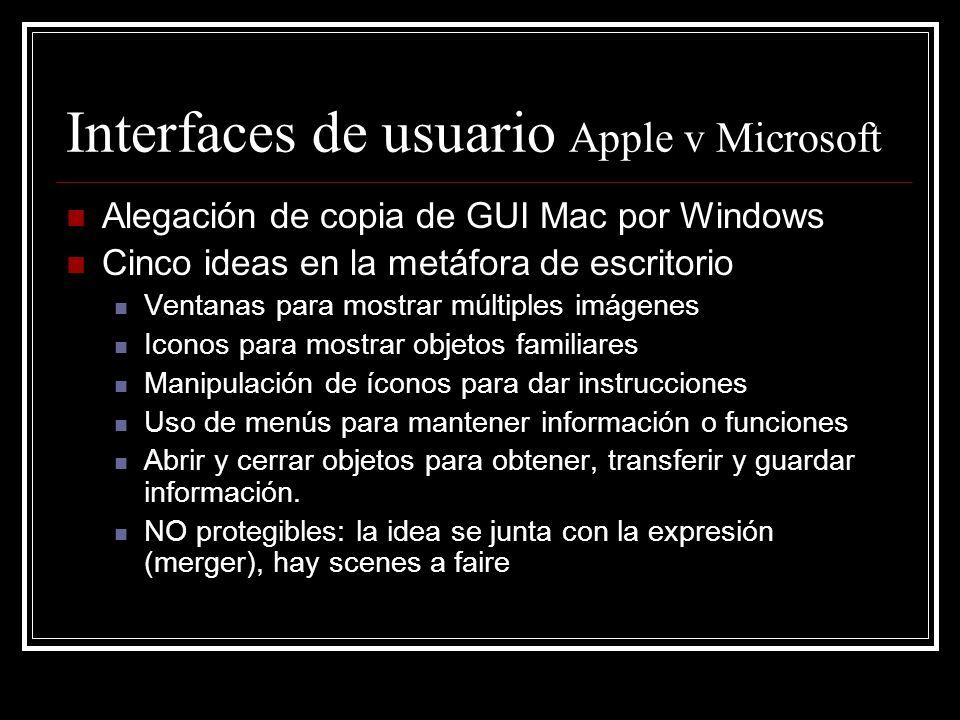 Interfaces de usuario Apple v Microsoft Alegación de copia de GUI Mac por Windows Cinco ideas en la metáfora de escritorio Ventanas para mostrar múlti